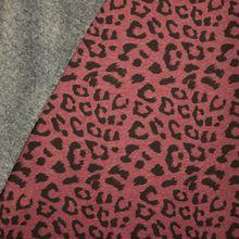 Bordeaux gemeleerde sweaterstof met pantervlekken, achterkant grijs pelsje