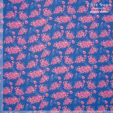 Blauwe Katoen Viscose met Roze Bloemetjes Fibre Mood