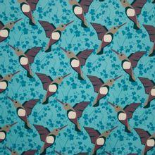 French terry blauw met bruine vogels