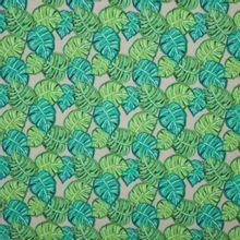 French terry groen bladeren motief