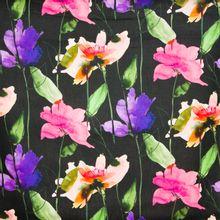 Linnen zwart bloemen motief