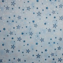 Lichtblauwe katoen met zilver en blauw ster motief
