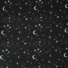 Zwarte viscose met sterrenmotief