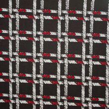 Zwarte jacquard met wit-rood ruitmotief