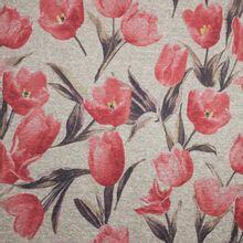 Dikke, grijze tricot met rode tulpen