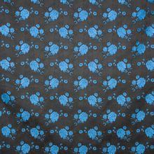 Zwarte jacquard met blauw bloemenmotief