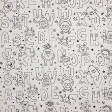 Witte katoen met alfabet tekeningen om in te kleuren