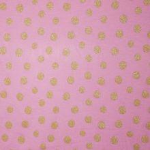 Sweaterstof in roze met gouden glinsterbollen
