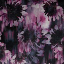 Stretch fluweel/velours met bloemenprint
