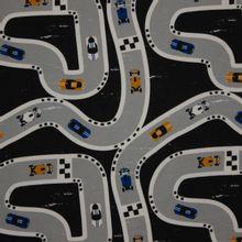 Zwarte sweaterstof met patroon van straten in grijs met auto's (geel en blauw)