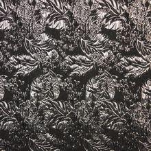 Zwarte jaquard met zilveren bladmotief