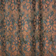 Stretch kant met bloemenmotief in glitterbrons en donkerblauw