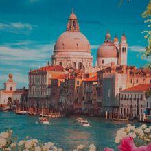 Katoenen fotopaneel met zicht op Venetië