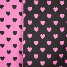 Double face jaquard met hartjes motief in zwart en roze