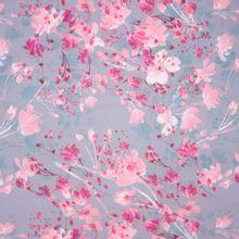 Zachte lila polyester met bloemenmotief