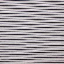 Tricot met strepen in wit, zilveren glitter en marineblauw - 'Lurex stripe'