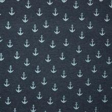 Gebrushte tricot in blauw met ankertjes