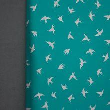 Turqoise softshell met zilveren reflecterende zwaluwen