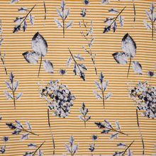 Gestreepte tricot in wit en okergeel met bloemen dessin van 'Stitched By You'