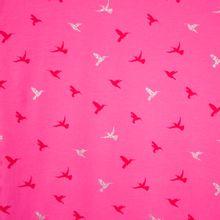 Felroze tricot met colibri's in zilveren glitter en rood
