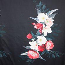 Zwarte stretchkatoen met grote bloemenprint