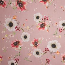 Oudroze stretchkatoen met bloemenprint