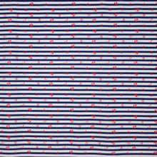 Blauw - wit gestreepte badpakkenstof met rode motiefjes