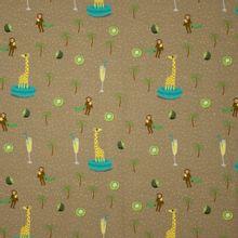 Kaki tricot met motief van apen, glazen, kiwi's, palmbomen en giraffen