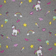 Grijs gemeleerde tricot met eenhoorns en diverse vrolijke motiefjes