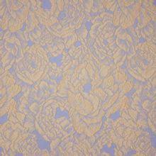 Italiaanse jacquard met bloemenmotief in beige en lichtblauw met gouden glitter