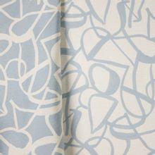 Gemeleerde polyester jacquard, double face met abstract lijnenmotief in ecru en lichtblauw