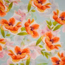 Lichtblauwe tricot met bloemenmotief