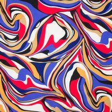 Soepele viscosetricot met abstract lijnen motief