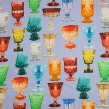 Lichtblauwe rekbare katoen met antieke glazen