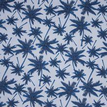Lichtblauwe katoen met palmbomen