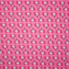 Roze tricot met harten en poesjes motief