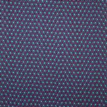 Fijne polyester met bollen motief in paars en blauw