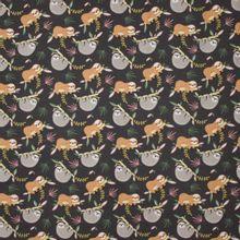Grijze tricot met luiaard en planten motief