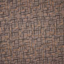 Grijze french terry met abstract lijnenpatroon in zwart en gouden glitter