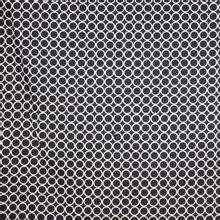 Zwarte rekbare katoen met wit ringen motief