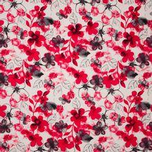 Ecru viscose - linnen mengeling met bloemen motief