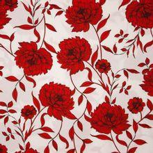 Witte polyester met rood bloemen motief