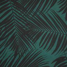 Groene viscose tricot met bladmotief