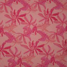 Jacquard met bloemen in roze tinten en roze glitters