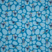 Blauwe tricot met vogel motief