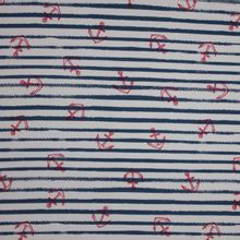 Wit en blauw gestreepte sweaterstof met rode anker