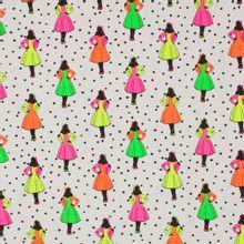 Witte tricot met dames figuurtje in neon