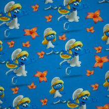 Lichtblauwe tricot met smurfin en bloemen motief