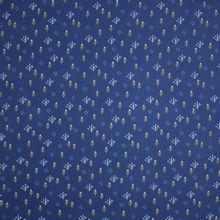 Donkerblauwe sweaterstof met fijn takjesmotief in wit en geel