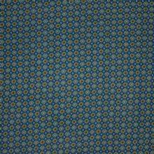Blauwe nicky velours met abstracte bloemen motief